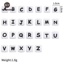 10mm 100pc contas de silicone letra alfabeto infantil sensorial grânulos grau alimentício silicone diy dentição pequena haste mordedor do bebê