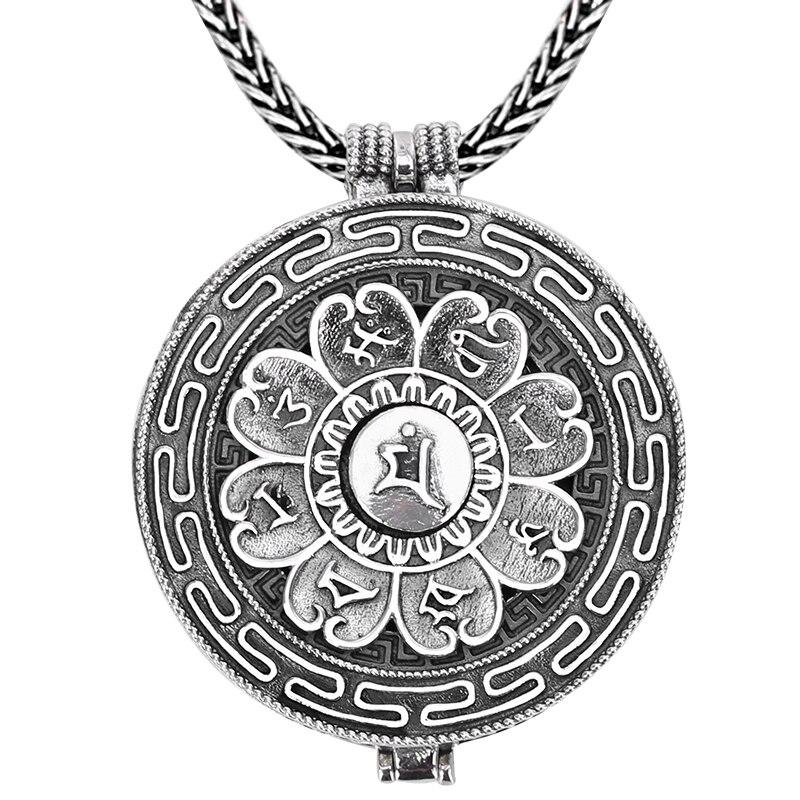 100 925 Silver Tibetan Six Words Proverb Gau Box Pendant Necklace Sterling Buddhist Symbols Prayer Box