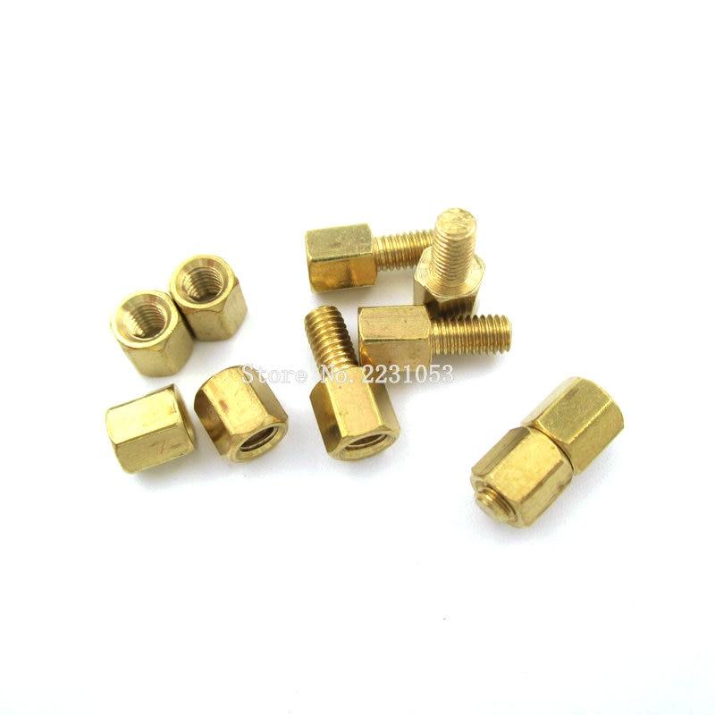 20PCS M3 Male x M3 Female 5mm Long Hexagonal Brass PCB Standoffs Spacers M3 Screw Set Kit M3*5mm Hex Screw 10 Sets
