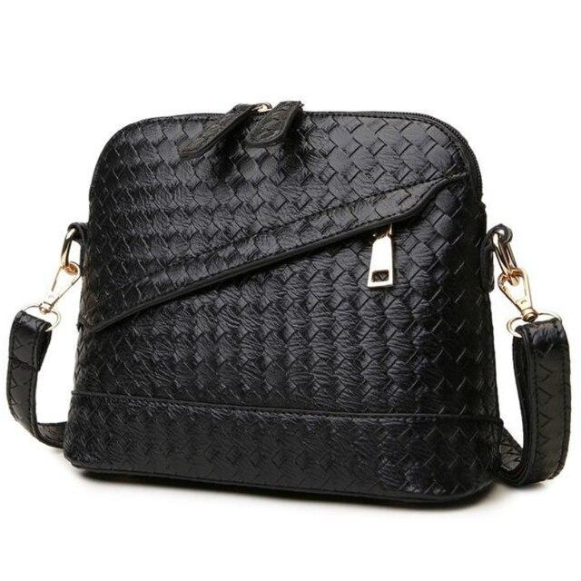 Hot Sale High Quality Knitting PU leather Women Shoulder Bag Double Zipper Woven Handbag Women Bags Small Women Messenger Bag