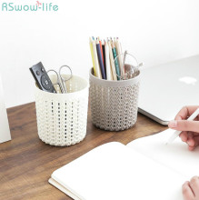 Creative Hollow Multi-Functional Small Pen Holder Plastic Office Receptacle Organizers Supplies Desk Accessories