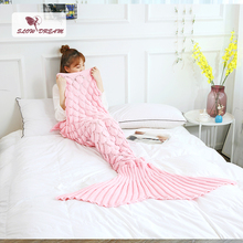 Slowdream Pink Throw Mermaid Tail Blanket Knitted Handmade Crochet Gift For Adult Child Kids Baby Sofa Bed Sofa Sleeping Bags black pink bicycle pattern crochet cartoon soft knitted blanket throw for girls children on bed sofa couch kids christmas gift