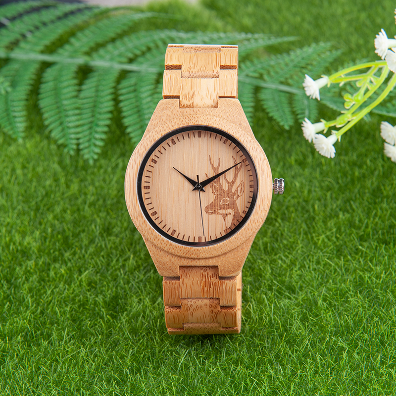 BOBO BIRD Women Watches Men Bamboo Wooden relogio feminino Deer with Wood Strap Quartz Ladies Couple Wristwatch gifts Timepieces bobo bird ladies bamboo wood quartz watches women clock with deer head dial with leather strap in gift case oem