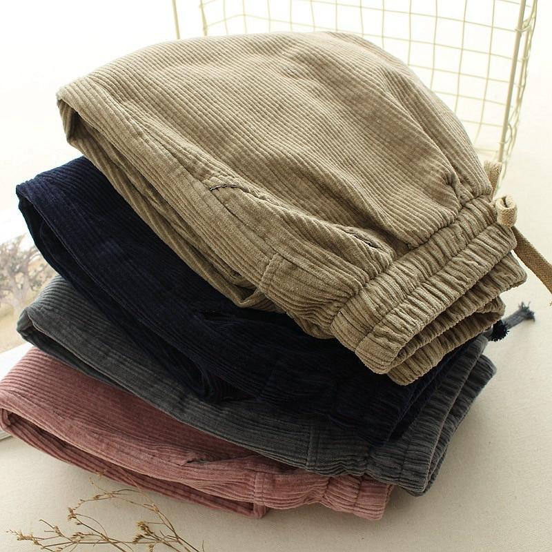 Corduroy   Pants     Capris   Women Winter Loose Casual   Pant   Elastic Waist Plus Size Harem   Pants   Female Autumn Solid Color   Pant   S-L