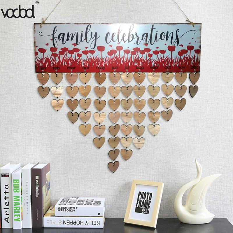 DIY Wooden Birthday Calendar Family Celebrations Wall Calendar Write Special Dates Planner Board Wood Grain Hanging Decor Gifts flower and wood board wall hanging