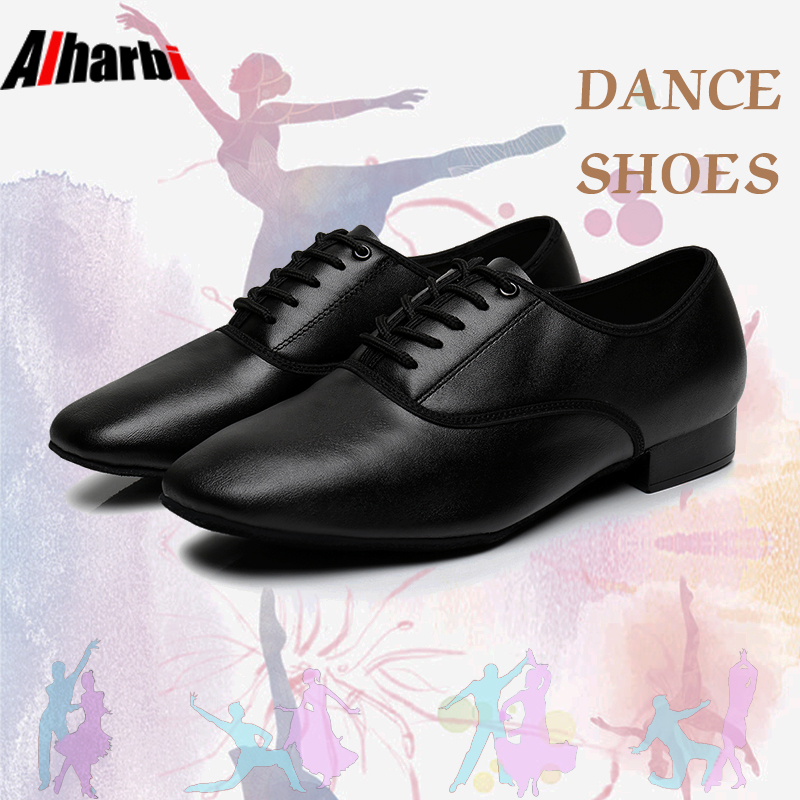Alharbi Haut De gamme Noir En Cuir Véritable Chaussures de Danse Tango Chaussures de Danse Latine pour Les Hommes 3 cm Talon Latine Tango Chaussures