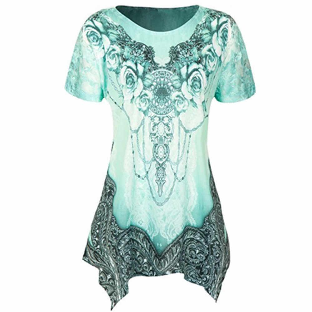 Для женщин блузка летние топы 2019 рубашки Для женщин с О-образным вырезом с со складками больших размеров короткий рукав блузка асимметричной Туника свободная длинная рубашка