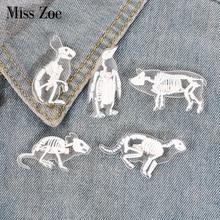 6 видов стилей, акриловая булавка в виде скелета, кошки, свиньи, кролика, пингвина, птицы, крысы, брошь, значок, булавка на лацкане, сумка для одежды, ювелирное изделие, подарок для друга