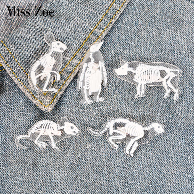 6 Styles Animal Skeleton acrylic pin Cat pig rabbit penguin bird rat brooch Badge Lapel pin Clothes bag jewelry Gift for friend