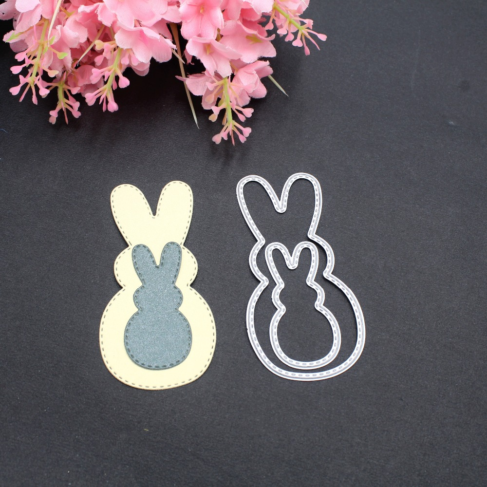 2pcs DIY Scrapbooking Embossing Paper Cards Die Cuts Craft Decorative Cute Easter Jumping Rabbit Metal Cutting Dies