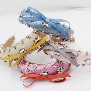 Image 1 - Baroque fashion luxury ball headband rhinestone bow headband headband hair band female girl hair accessories 965