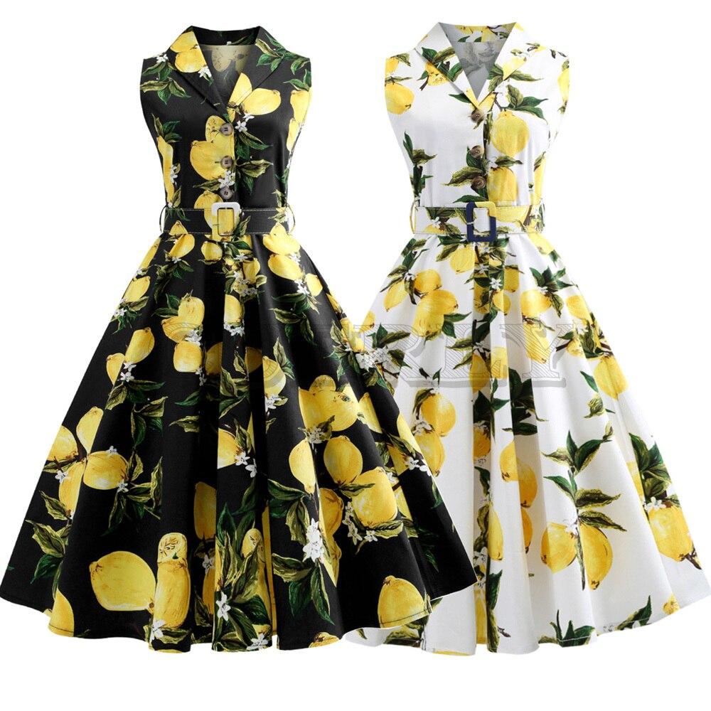 Robe de soirée taille citron imprimé été Vintage robe rabattre ceintures bouton femmes rétro robe élégante fête Vestidos bureau robe