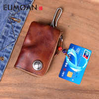 Genuine Leather Mini Men women Coin Purse Vintage Vegetable Tanned Cowhide Thin Zipper Small Wallets Cards Holder key wallet