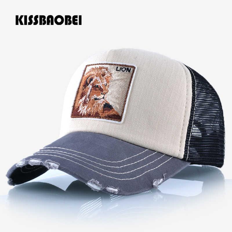 Gorra de béisbol con bordado de León para hombres y mujeres Gorras Snapback  transpirable malla Hip 37653a5188c