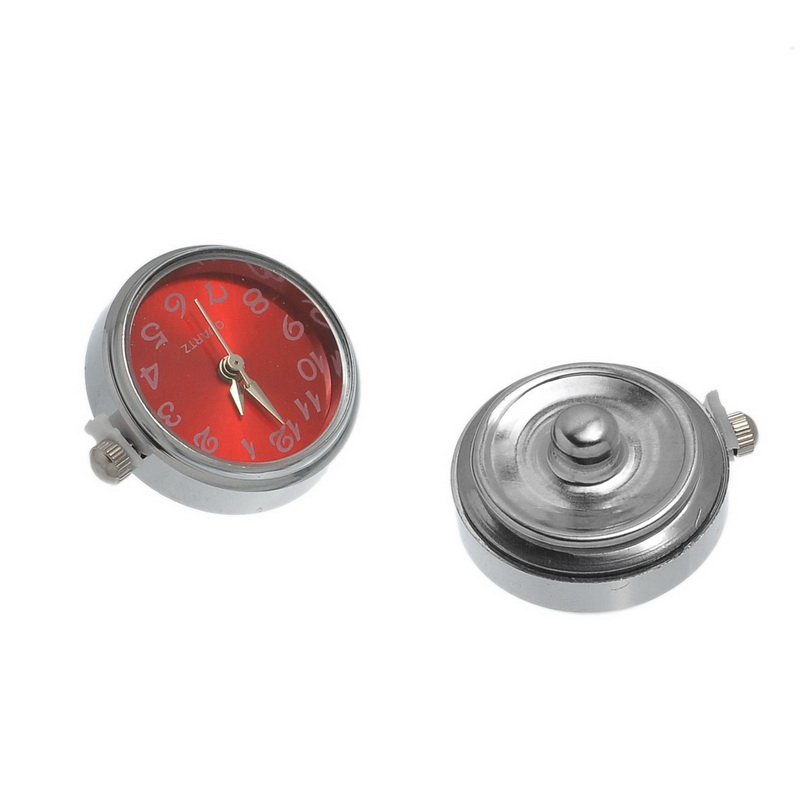 10Pcs/lot Red Round Quartz Watch Face Snap Click DIY Jewelry Making Component 25x21mm