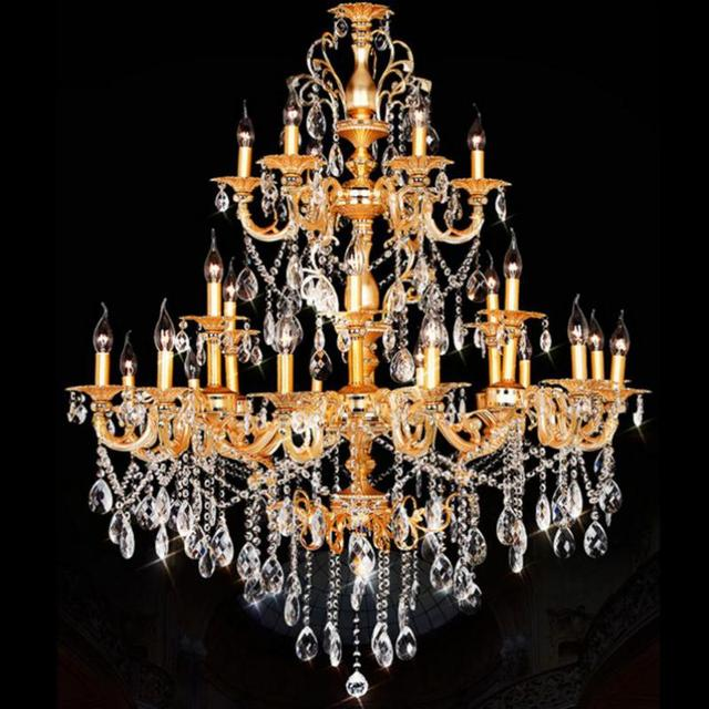 Castle Villa traditional Gold chandeliers 24 arms Aluminum crystal stair  light antique chandelier Lustres Para Sala - Castle Villa Traditional Gold Chandeliers 24 Arms Aluminum Crystal