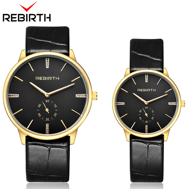 REBIRTH 1 Pair Leather Fashion Men Women Watches Luxury Quartz WristWatch Couple Lover Watches Relogios Clock Erkek Kol Saati