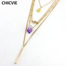 Chicvie многослойные ожерелья цепочки золотого цвета с камнем