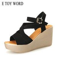 E玩具ワード大size34-43夏の靴ウェッジサンダル韓国オープンつま先スエードレザーハイヒール黒プラットフォーム女性サンダ