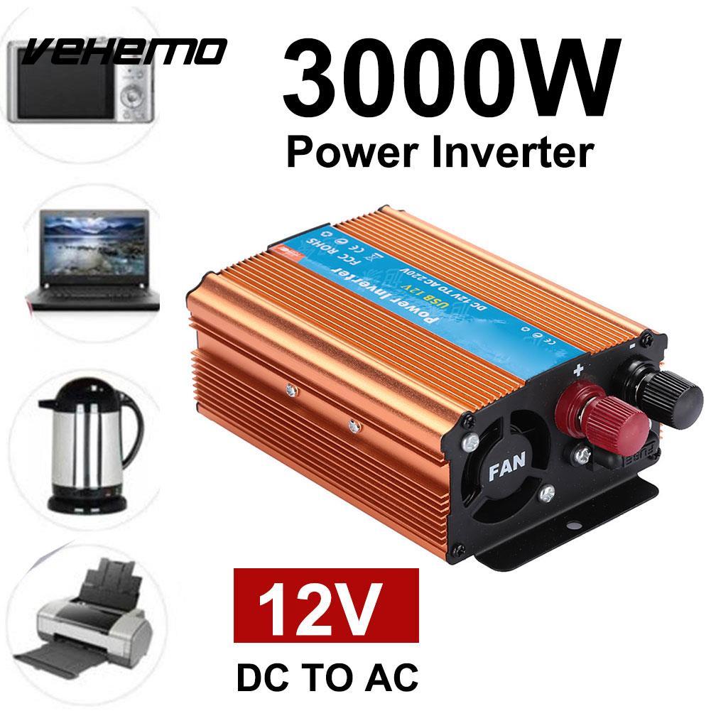 VEHEMO 3000W DC 12V To AC 220V Transformer Converter Power Inverter Car Inverter Car Automobile Adapter Output
