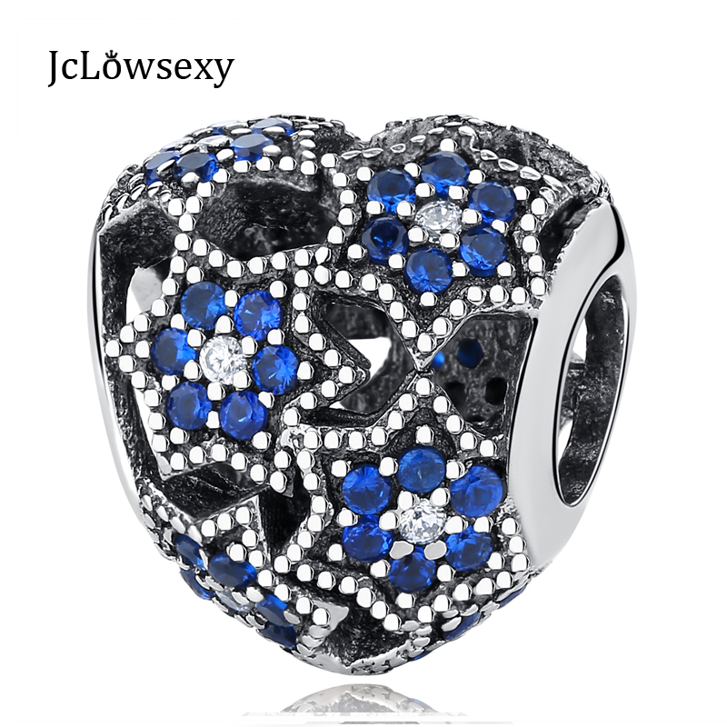 2934739f0 NEW 100% Authentic S925 Sterling Silver Bule Crystal Star Hollow Love Charm  Bead Fit Original Pandora Bracelets DIY Charms