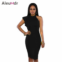 Aleumdr Sexy Halter Neck Bodycon Dresses 2017 New Black White One Shoulder Ruffle Sleeve Midi Dress