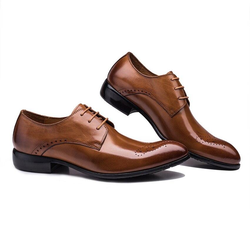 Robe Mariage Main up Homme Véritable Noir marron Chaussures De Bout Ymx520 Derby Dentelle Partie Respirant À Sculpté Hommes Formelle Cuir La Rond PPwBXpaqU