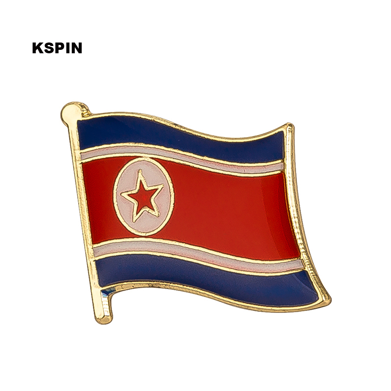 North Korea Metal Flag Lapel Pin Badges For Clothes Rozet Set Brooch In Brooches KS-0046 image