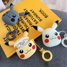 3D Cartoon pika For Apple Airpods Case Protective Cover Bluetooth Earphone Silicone Cases Headset Bag with Finger Ring Strap
