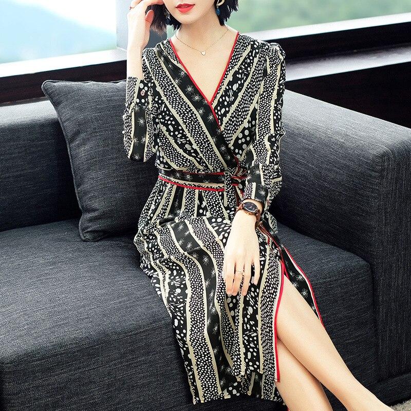 V Lignes Office Femmes Soie En Nouvelles Split Imprimé Printemps De Longues 2019 Lady Robe Manches À Gris Col Sexy Soirée Travail Haut ybgmfY6I7v