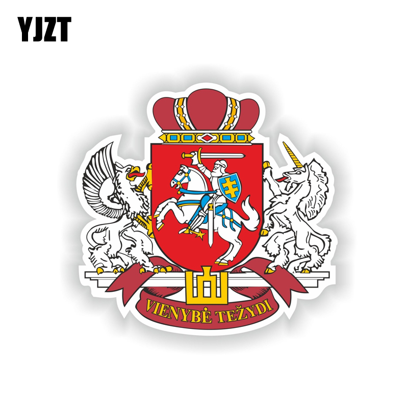 YJZT 12.2CM*11.7CM Personality Car Sticker Lithuania Coat Of Arms Helmet Motorcycle Decal 6-2035