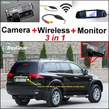 3 in1 Special Camera + Wireless Receiver + Mirror Monitor Easy DIY Backup Parking System For Mitsubishi Pajero Sport 2008~2015