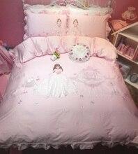 Pink Cartoon Princess 3D Embrodiery 80S Egyptian cotton Bedding Set Duvet Cover Bed Linen sheet Pillowcase Gift For Child