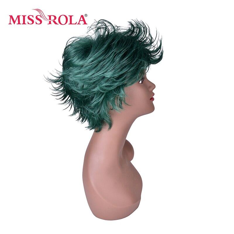Мисс Рола 15 см теплостойкость парики партии 1 шт. зеленый черный Ombre Mix короткий пушистый слоистых синтетических косплей парики 4070-2610C