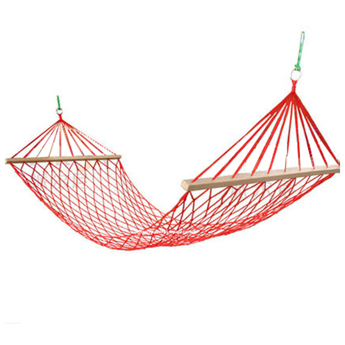 The Mesh Camping Hammock With Wooden Bar 80cm Single-person Nylon Rope Hanging Chair With Tree Rope Summer Swing Bed