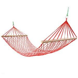 Image 1 - A rede de acampamento de malha com barra de madeira 80cm única pessoa corda de náilon pendurado cadeira com corda de árvore verão balanço cama