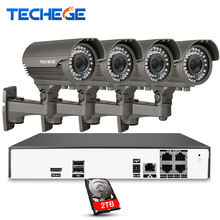 Techege 4CH H.265 4K PoE NVR 2048*1536 2.8-12mm Manual lens 4pcs 4.0MP IP Camera POE System Night Vision Video CCTV System
