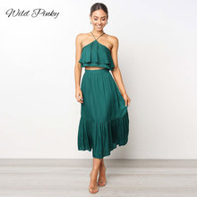 WildPinky Summer Women Solid Party Dress Two Pieces Set Sleeveless Halter Bandage Midi Dresses Sexy Backless Beach Vestido