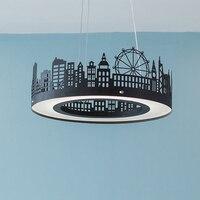Dining Room Pendant Lights led Kitchen Light Modern Household Circular led Pendant Lights Bedroom Study led Black Pendant lamps