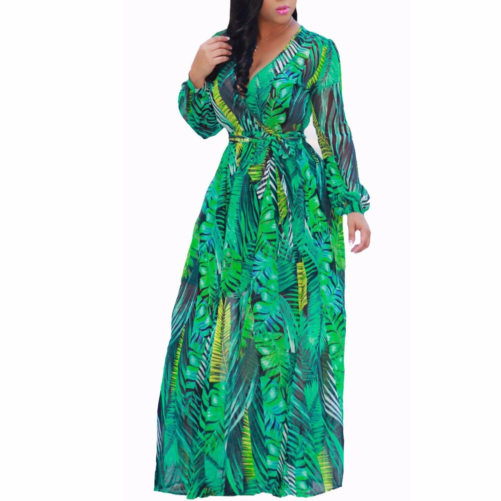 US $18.88 12% OFF|2018 chiffon Long Sleeve maxi dress bohemia dress full  plus size celebrity/graduation/Dinner Dress Beach Sundress-in Dresses from  ...