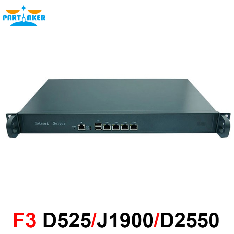 1U Rackmount Case Internet Firewall D525 with 4* Intel 82583V Gigabit LAN Bypass 2G RAM 8G SSD 1u firewall pfsense vpn intel quad core xeon l5420 with 6 ports 6 1000m 82583v gigabit nic 2g ram 8gb ssd