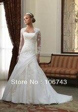 dresses free shipping 2013 bridal lace bolero jacket Luxurious Long Sleeves Applique Flat Petite Sweep Length Wedding Dress
