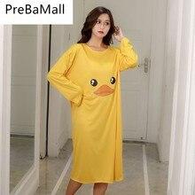 Womens Summer Long Sleeve Sleep Dress Lovely Cartoon Printed Sleepshirt Plus Size Oversized Nightdress C166