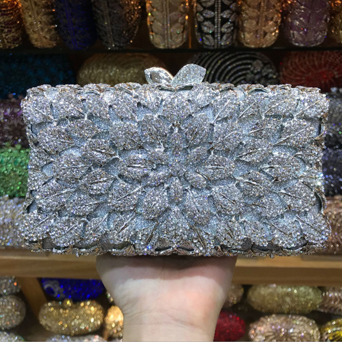 silver gold Crystal Women Evening Wedding Cocktail Handbag Clutch Hardcase Metal Box Bridal Chain Shoulder credit card Purse natural women diamond luxury crystal evening bags bridal wedding clutch purse hardcase gold metal party shoulder handbag