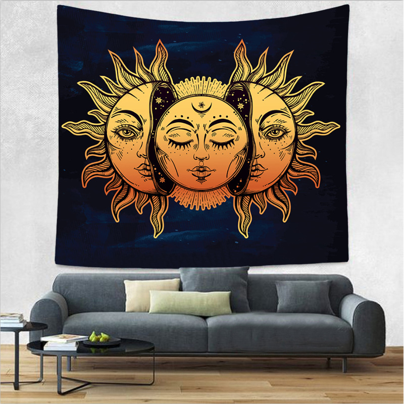 Psychedelic Celestial Indian Sun God Tapestry Mandala Religious Hanging Wall Carpet Square Beach Towel Throw Blanket Home Decor Smart Electronics
