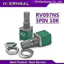 5pcs RV097NS 10K single linked potentiometer B10K with a switch audio 5pin shaft 15mm  amplifier sealing potentiometer