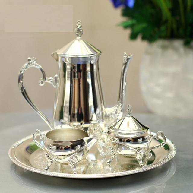 New arrival silver plated metal coffee set/tea set for weddings or party or KTV & New arrival silver plated metal coffee set/tea set for weddings or ...