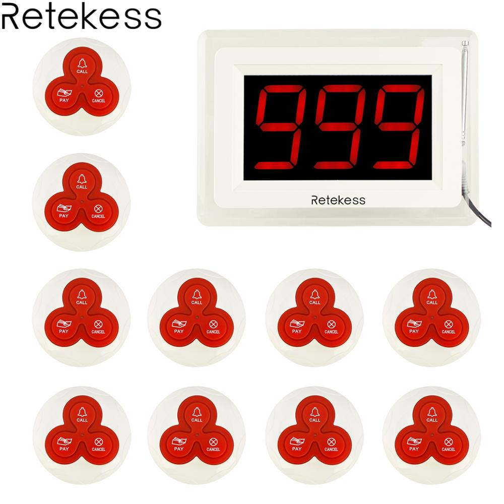 Retekess T114 Restaurant Pager Wireless Calling Paging System 1 Host Display 10 Table Bells Call Button
