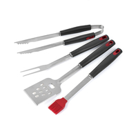 4Pcs/Set BBQ Grill Tools Set Stainless Steel Barbecue Grilling Utensils Premium Grill Accessories for Barbecue Spatula, Tong