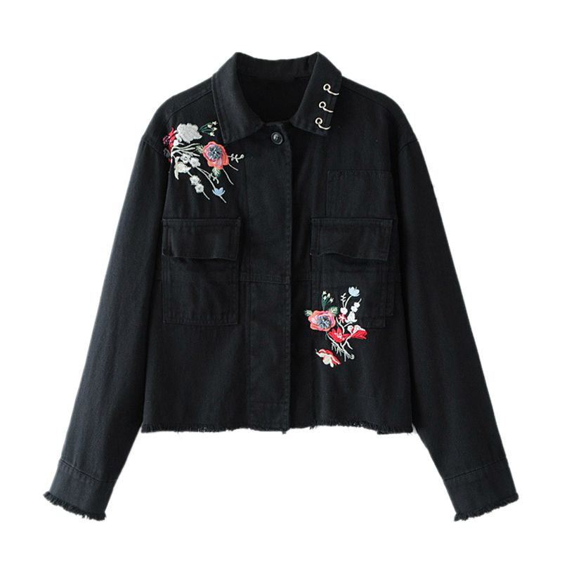 Women New Casual Denim Jacket Flower Embroidery Long Sleeves Vintage Jackets Metallic Rings Denim Coat(Black) 2017 jack